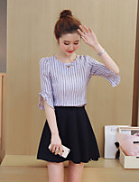 cheap -Women's Going out Simple Cross-Seasons Blouse Skirt Suits,Solid Striped Round Neck Half Sleeves Cotton Polyester