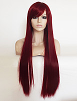 cheap -Cosplay Anime Wig Wine Red Long Straight Hair Wig Color Wig 80CM
