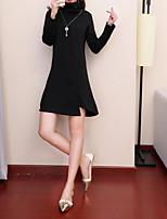 Недорогие -Для женщин Повседневные На каждый день Оболочка Платье Однотонный,Воротник-стойка Ассиметричное Длинные рукава Полиэстер Зима Со