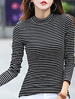cheap -Women's Daily Casual Spring T-shirt,Striped Crew Neck Long Sleeve Cotton Opaque