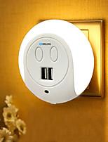 Недорогие -brelong led night light двойной USB-порт настенный зарядный датчик света 2a 110-240v eu