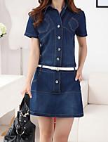 preiswerte -Damen Bodycon Kleid-Lässig/Alltäglich Einfach Solide Hemdkragen Mini 3/4 Ärmel Polyester Sommer Mittlere Hüfthöhe Unelastisch Dick