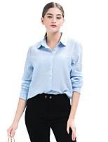 cheap -Women's Daily Casual Fall Shirt,Striped Shirt Collar Long Sleeve Polyester