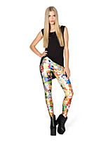cheap -Women's Retro Cotton Opaque Print Legging,Floral Print Red