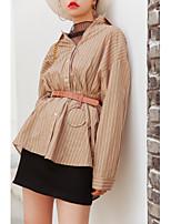 cheap -Women's Casual/Daily Active Spring/Fall Shirt,Striped Shirt Collar Long Sleeve Cotton Medium