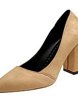 preiswerte -Damen Schuhe PU Frühling Herbst Komfort High Heels Blockabsatz für Draussen Schwarz Beige Braun