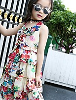 cheap -Girl's Going out Floral Dress,Polyester Summer Sleeveless Boho Red