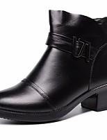 cheap -Women's Shoes Cowhide Winter Fall Comfort Bootie Boots Chunky Heel Booties/Ankle Boots for Casual Black
