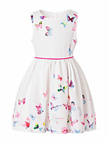 cheap -Girl's Daily Going out Solid Floral Butterfly Dress,Cotton Spring, Fall, Winter, Summer All Seasons Sleeveless Cute Active Princess White