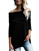 cheap -Women's Daily Casual All Seasons T-shirt,Solid Off Shoulder Long Sleeve Polyester Opaque
