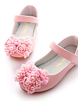 cheap -Girls' Shoes PU Spring Fall Flower Girl Shoes Novelty Flats Bowknot Rivet Magic Tape for Party & Evening Dress White Pink