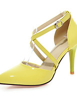cheap -Women's Shoes PU Spring Fall Comfort Novelty Heels Stiletto Heel Pointed Toe Round Toe Buckle for Wedding Party & Evening Red Yellow
