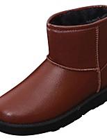 baratos -Feminino Sapatos Couro Ecológico Inverno Conforto Botas de Neve Forro de peles Botas Sem Salto Ponta Redonda Botas Curtas / Ankle para