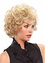 cheap -Women Synthetic Wig Short Blonde Curly Hair with Bangs Natural Wig.