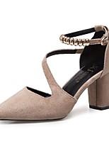 cheap -Women's Shoes Nubuck leather Spring Comfort Heels Chunky Heel Pointed Toe Rhinestone for Casual Khaki Gray Black