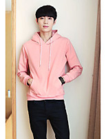 cheap -Men's Casual/Daily Hoodie Solid Round Neck Inelastic Polyester Long Sleeve Winter