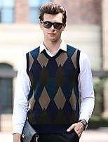 Недорогие -Муж. Контрастных цветов Пуловер, На каждый день Без рукавов V-образный вырез Шерсть Осень