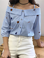 cheap -Women's Casual/Daily Street chic Shirt,Striped Bateau ¾ Sleeve Cotton