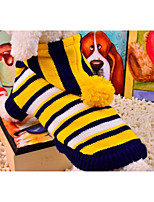 cheap -Cat Dog Sweater Dog Clothes New Casual/Daily Striped Yellow Red Costume For Pets