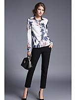 preiswerte -Damen Druck Street Schick Anspruchsvoll Lässig/Alltäglich Hemd,Hemdkragen Langarm Polyester