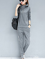 cheap -Women's Casual/Daily Simple Spring/Fall Hoodie Pant Suits,Striped Hooded Long Sleeves Cotton