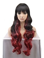 cheap -New European and American fashion wig long paragraph black and red gradient wave curvature high temperature wire wig