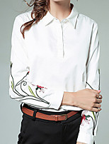 cheap -Women's Daily Casual Spring Fall Shirt,Solid Floral Shirt Collar Long Sleeve Cotton Opaque