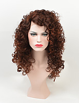 cheap -On Sale Afro Curly Middle Length Brown Daily Wig for Black Women Heat Resistant Kinky Culry Natural Cosplay Hair High Qualtiy