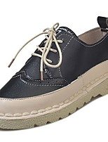cheap -Women's Shoes PU Winter Comfort Sneakers Flat Heel Round Toe for Casual Brown Beige Black