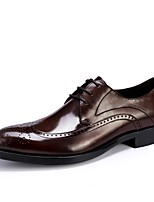 Недорогие -Муж. обувь Натуральная кожа Весна Осень Формальная обувь Туфли на шнуровке для Для вечеринки / ужина Офис и карьера Черный Вино