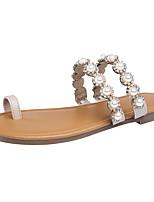 Недорогие -Жен. Обувь Искусственное волокно Лето Осень Удобная обувь Обувь через палец Тапочки и Шлепанцы Плоские Искусственный жемчуг для