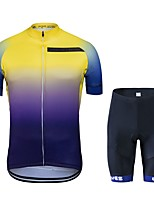 cheap -Wisdom Leaves Cycling Jersey with Shorts Unisex Short Sleeves Bike Clothing Suits Bike Wear Quick Dry Geometric Cycling / Bike Blue+Yellow