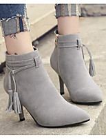 cheap -Women's Shoes Nubuck leather Spring Fall Comfort Fashion Boots Boots Stiletto Heel Booties/Ankle Boots for Casual Gray Beige Black