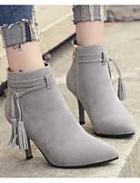 baratos -Feminino Sapatos Pele Nobuck Primavera Outono Conforto Botas da Moda Botas Salto Agulha Botas Curtas / Ankle para Casual Preto Bege
