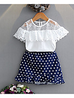 cheap -Girls' Going out Creative Clothing Set, Cotton Summer Short Sleeves Cute White
