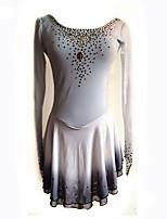 Недорогие -Платье для фигурного катания Жен. Катание на коньках Платья Серый Эластичная Профессиональный стиль Для начинающих Одежда для фигурного