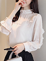 cheap -Women's Going out Sophisticated Spring Blouse,Solid Boat Neck Long Sleeve Polyester Medium