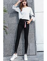 preiswerte -Damen Undurchsichtig Baumwolle Polyester Solide Einfarbig Legging,Schwarz