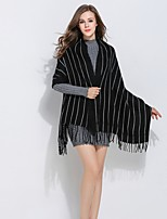 cheap -Sleeveless POLY Party / Evening Office / Career Stripe Tassel Shawls
