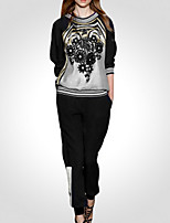 cheap -Women's Daily Casual All Seasons Set Pant Suits,Print Round Neck Long Sleeve Polyester
