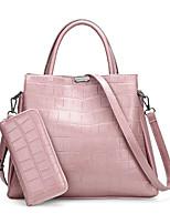 cheap -Women Bags PU Bag Set 2 Pieces Purse Set Zipper for Casual Outdoor All Season Blushing Pink Red Black Blue