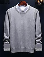 preiswerte -Herren Standard Pullover-Ausgehen Street Schick Solide Rundhalsausschnitt Langarm Polyester Winter Herbst Dick Mikro-elastisch