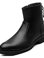 cheap -Men's Shoes Real Leather Spring Fall Comfort Combat Boots Boots Mid-Calf Boots for Casual Black