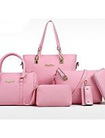 cheap -Women Bags PU Bag Set 6 Pieces Purse Set Zipper for Casual Outdoor Winter Fall Fuchsia Blushing Pink Black White Blue