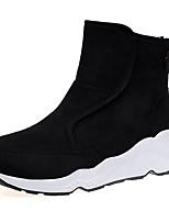 abordables -Mujer Zapatos PU Primavera Otoño Confort Botas Tacón Plano Mitad de Gemelo para Casual Negro Marrón