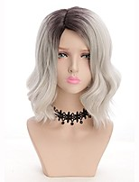 cheap -Ombre Hair Black to Gray Fahshion Daily Natural Looking Popular Desigh Women Synthetic Wig Curly Wave Short Pixie Cut Side Part  Wig Heat Resistant