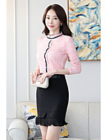 cheap -Women's Casual/Daily Sophisticated Shirt,Color Block Stand Long Sleeves Polyester