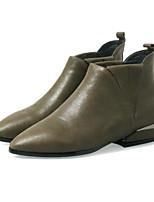 abordables -Mujer Zapatos Cuero de Napa Cuero Invierno Otoño Confort Botas hasta el Tobillo Botas Talón de bloque Botines/Hasta el Tobillo para Casual