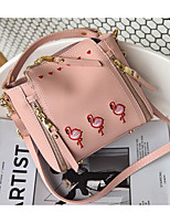 cheap -Women's Bags PU Shoulder Bag Embroidery for Casual Outdoor Winter Fall Green White Blushing Pink Brown Light Grey