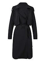 cheap -Women's Daily Casual Winter Trench Coat,Solid Shirt Collar Short Sleeve Long Cotton